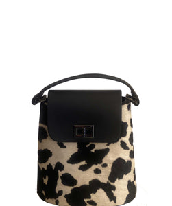 BALZE Structured Boxy Shaped Leather Grab Shoulder Bag Made in Italy, Cow