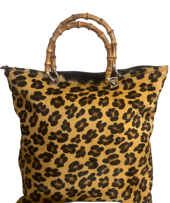 MORRE Bamboo Handles Italian Leather Calf Hair Handbag, Large Leopard