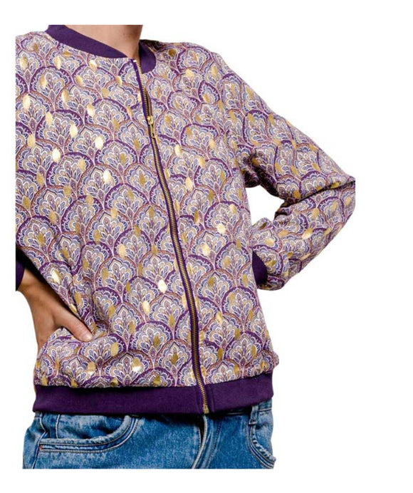 Sparkly Print Bomber Jacket, Purple and Gold