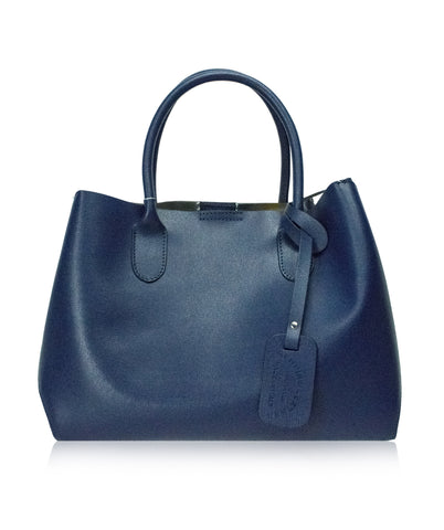 BROLIO Blue Structured Leather Tote Bag