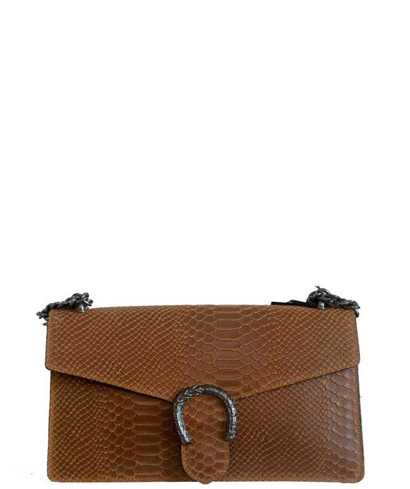 CERTOSA LARGE Chic and Timeless Italian Leather Shoulder Bag, Tan