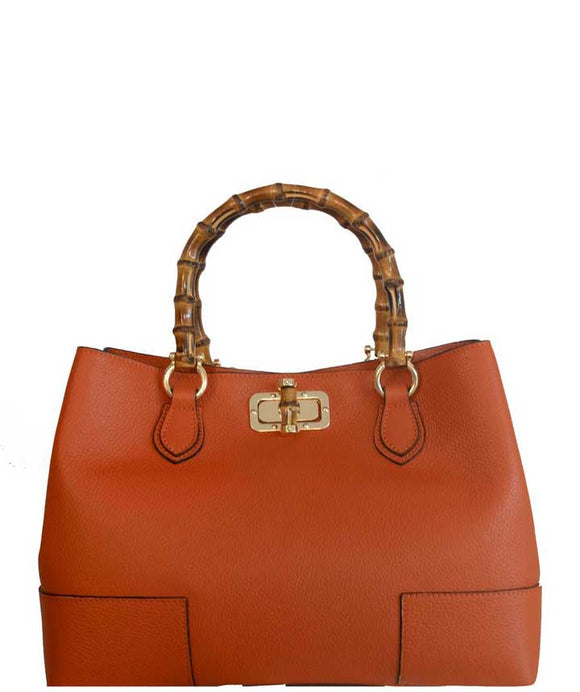 CESTELLO Designer Style Leather Tote Bag With Bamboo Handles, Burnt Orange