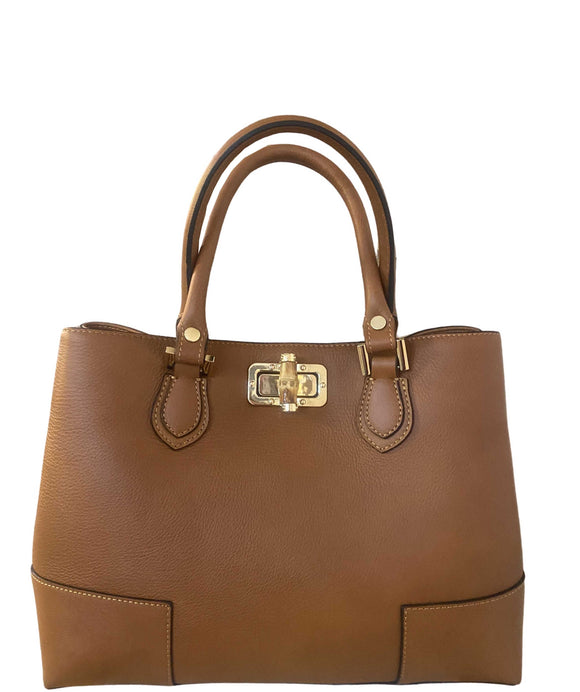 CESTELLO Peekaboo Style Leather Tote Bag With Bamboo Detail, Tan