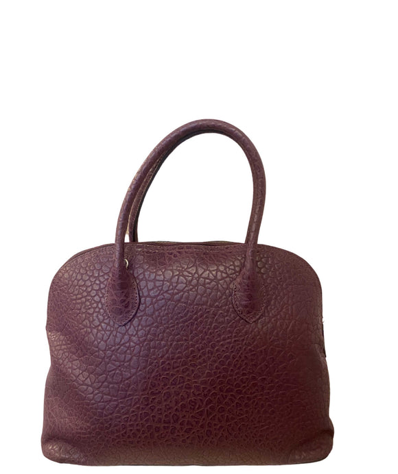 CHIANA Domed Shape Soft Italian Leather Grab Shoulder Handbag, Bordeaux
