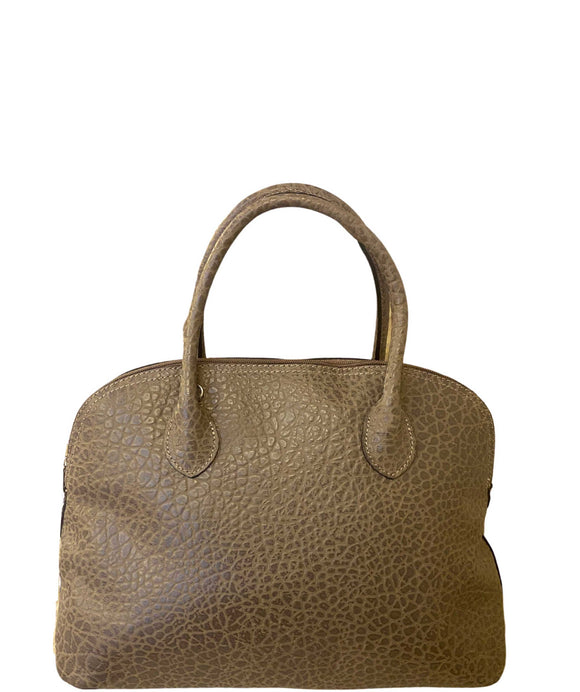 AZZARA Domed Shape Soft Italian Leather Grab Shoulder Handbag, Taupe