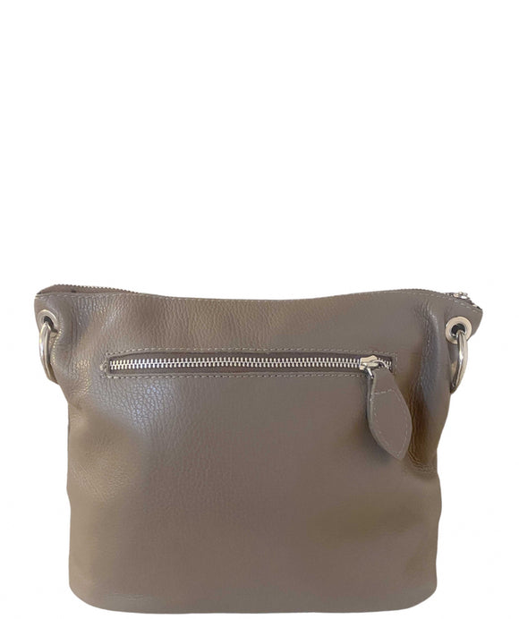VINCENZO Taupe Soft Leather Bucket Bag / Shoulder Grab Crossbody
