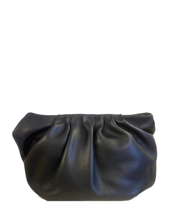 CORSO Plump Compact Pouch Crossbody Shoulder Bag Made in Italy, Black