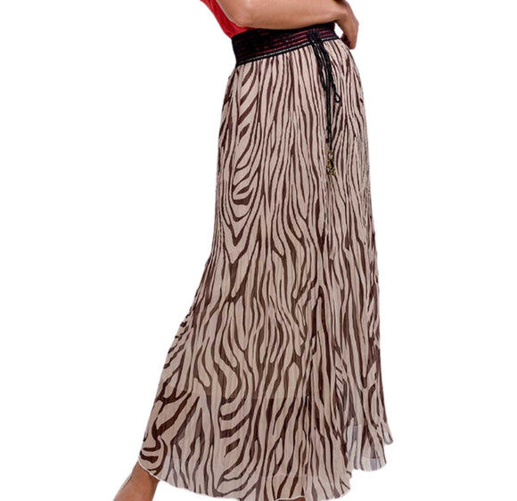 Skirt Trousers Combo Black Brown Tiger Print