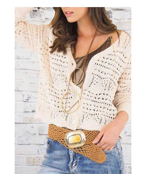 CROCHET KNIT Cropped Cardigan