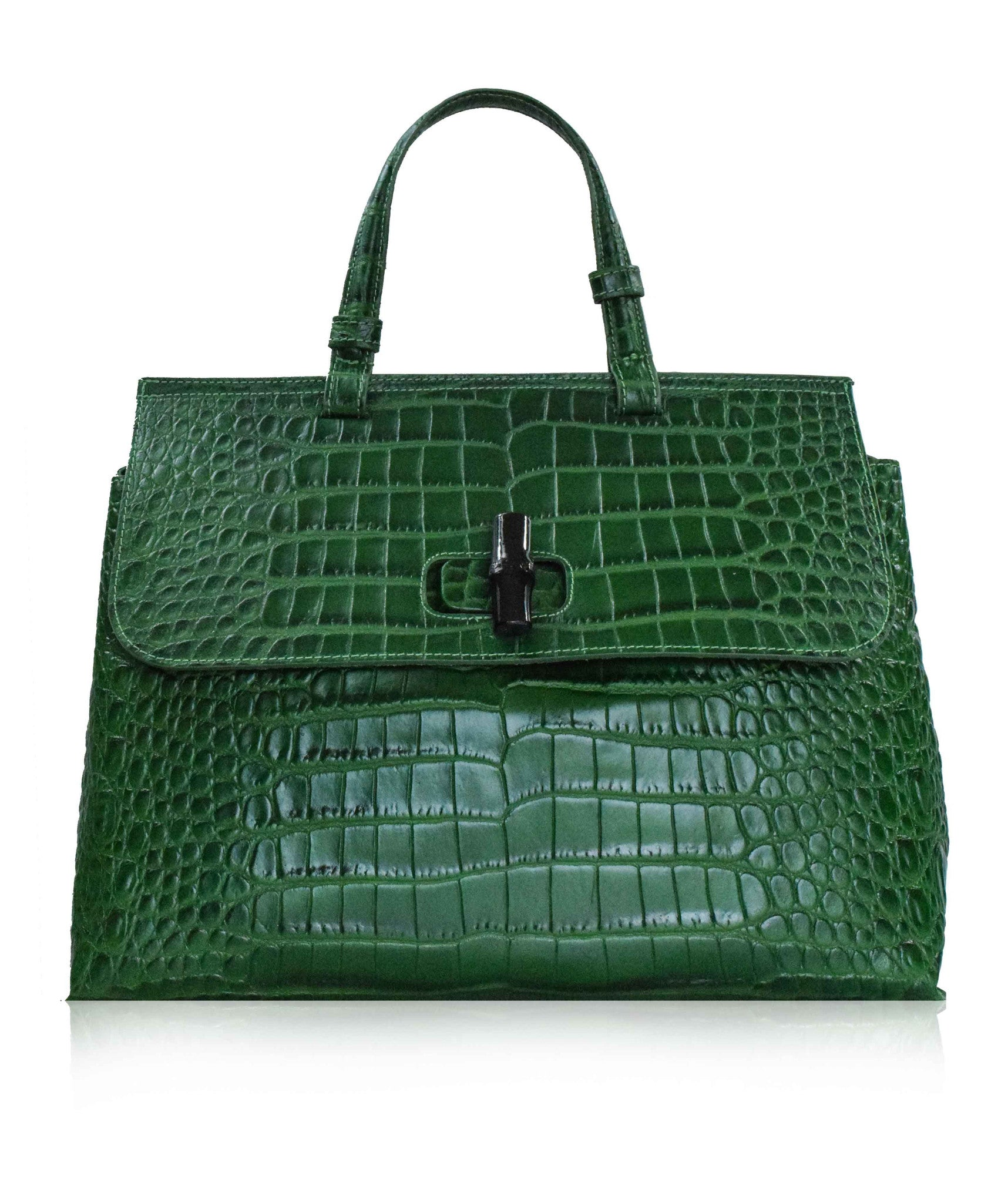 f8bb8ae5 CASOLE Large Green Gucci Bamboo Top Handle Tote Bag | Florence ...