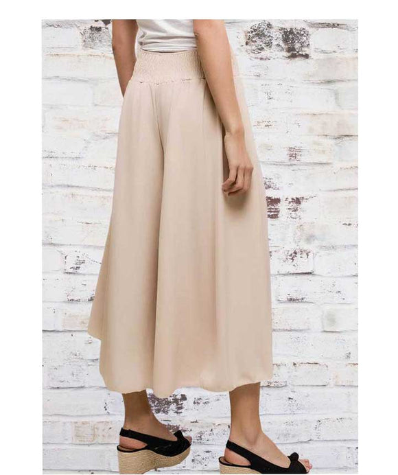 CULOTTES Wide Leg Trousers, Beige