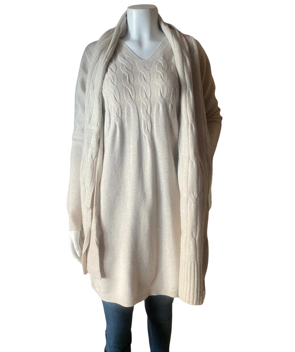 Women's Knitted Jumper Dress Cable Knit Pattern with Scarf, Beige