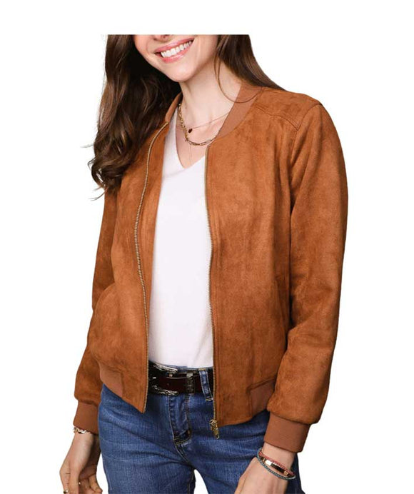 Chic Faux Suede Bomber Jacket Baseball Collar, Tan