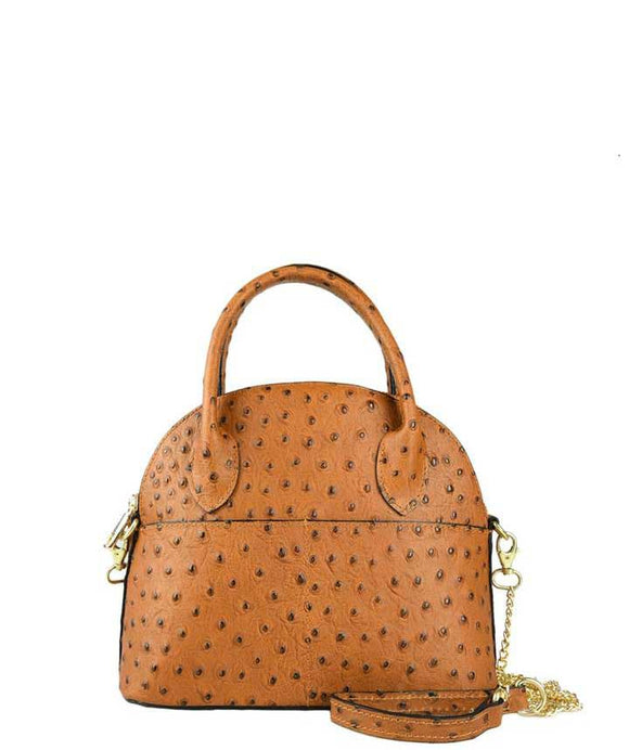 FIRENZE SMALL Ostrich Print Alma Style Italian Leather Grab Bag, Tan