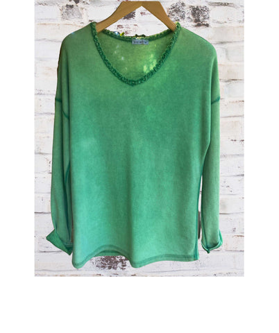 LONG SLEEVE Frill V-Neck T-Shirt, Green