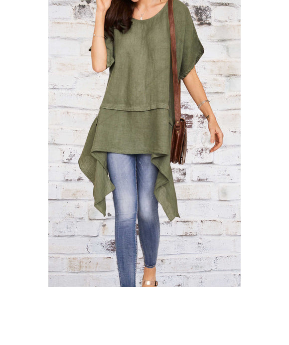 ASYMMETRICAL HEM Long  Linen Tunic/Top Made In Italy, Khaki