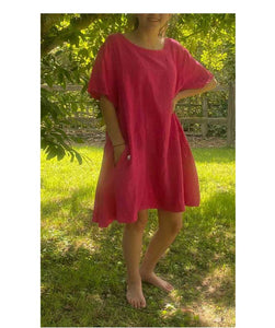 Linen Asymmetric Loose Dress/Tunic, Hot Pink