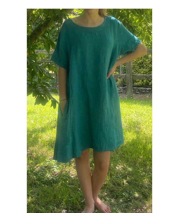 Linen Asymmetric Loose Dress/Tunic, Teal