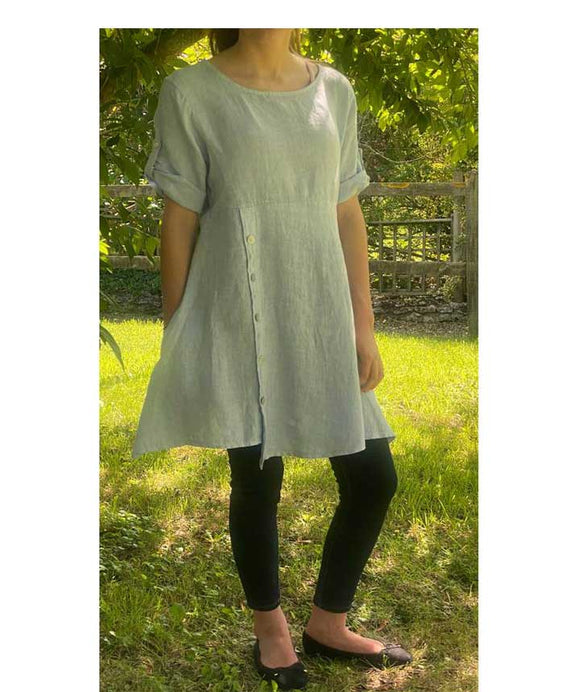 Asymmetric Linen Dress/Tunic Made in Italy , Light Blue