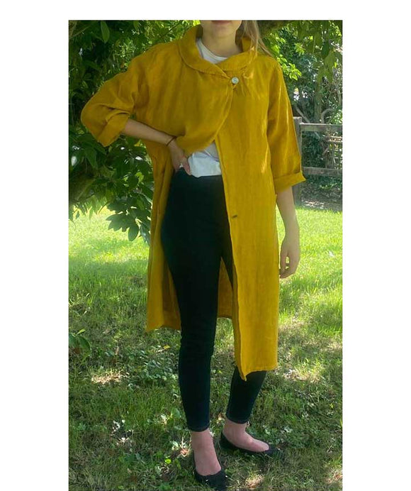 Long Linen Jacket Shawl Collar, Mustard