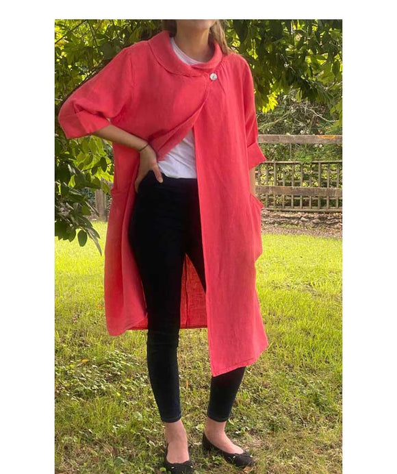 Long Linen Jacket Shawl Collar, Salmon
