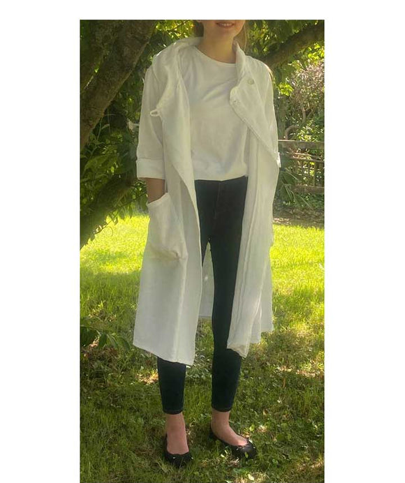 Long Linen Jacket Shawl Collar, White