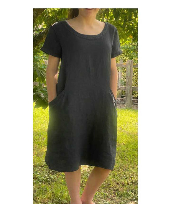 Linen Straight Style Dress Made in Italy, Dark Blue