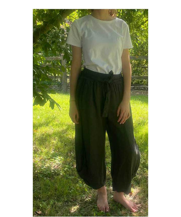 Linen Trousers 3/4 length Elasticated Waist, Dark Grey