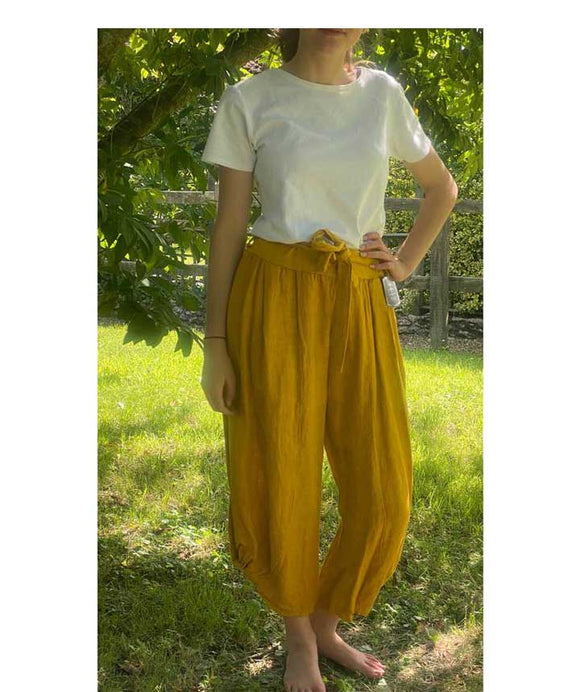 Linen Trousers 3/4 length Elasticated Waist, Mustard