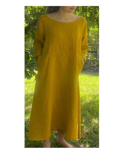 Linen Dress Loose Fit Made in Italy, Mustard