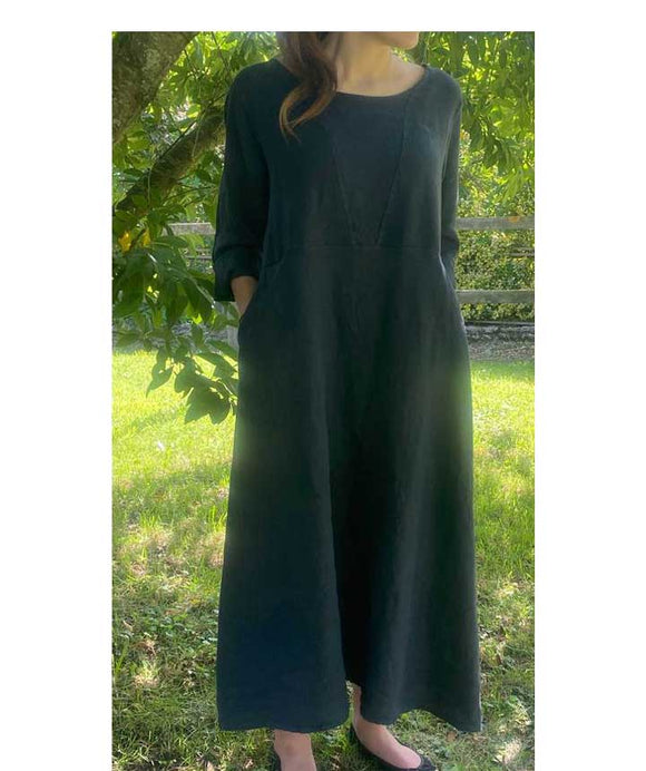 Linen Dress Loose Fit Made in Italy, Dark Blue