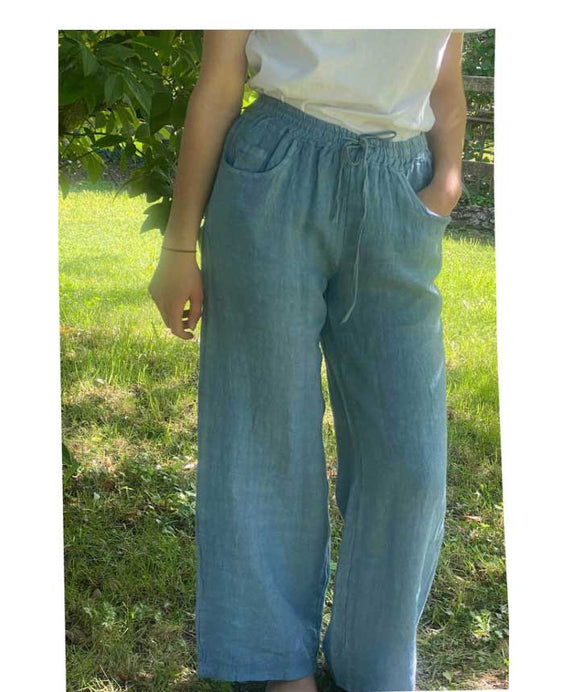Linen Wide Leg Trousers Elasticated Waist, Denim Blue