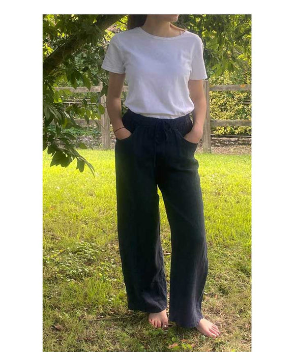 Linen Wide Leg Trousers Elasticated Waist, Dark Blue
