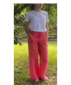Linen Wide Leg Trousers Elasticated Waist, Coral