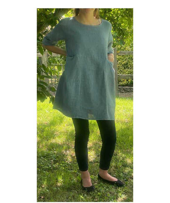 Linen Scoop neckline Tunic Pockets, Blue