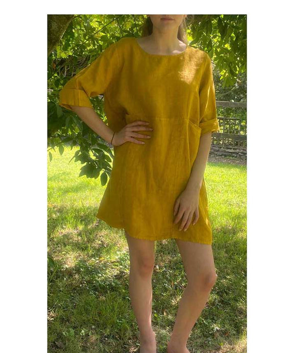 Linen Scoop neckline Tunic Pockets, Mustard
