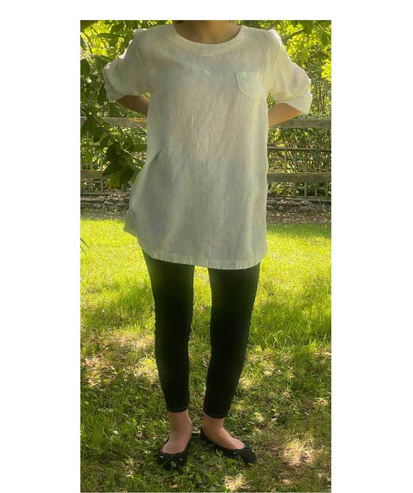 Linen Top/Tunic Scoop Neck Made in Italy, White