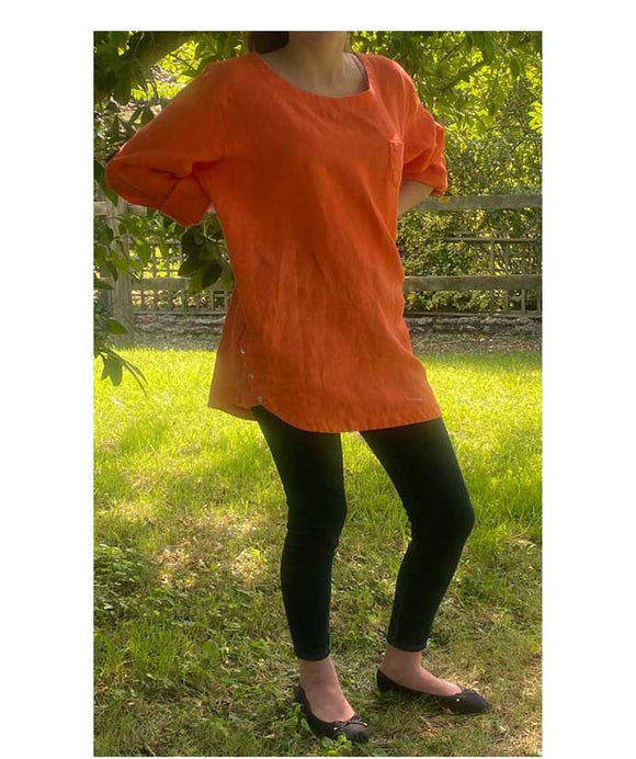 Linen Top/Tunic Scoop Neck Made in Italy, Orange