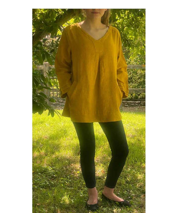 Linen V Neck Top 3/4 Sleeves Made in Italy, Mustard
