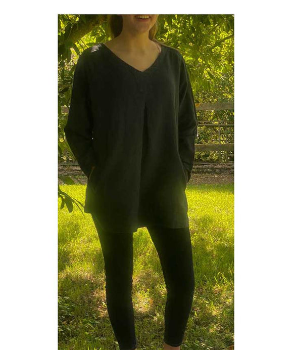 Linen V Neck Top 3/4 Sleeves Made in Italy, Dark Blue