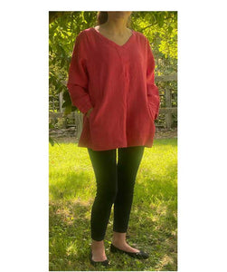 Linen V Neck Top 3/4 Sleeves Made in Italy, Pink