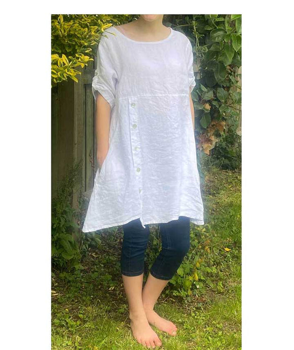 Asymmetric Linen Dress/Tunic Made in Italy , White