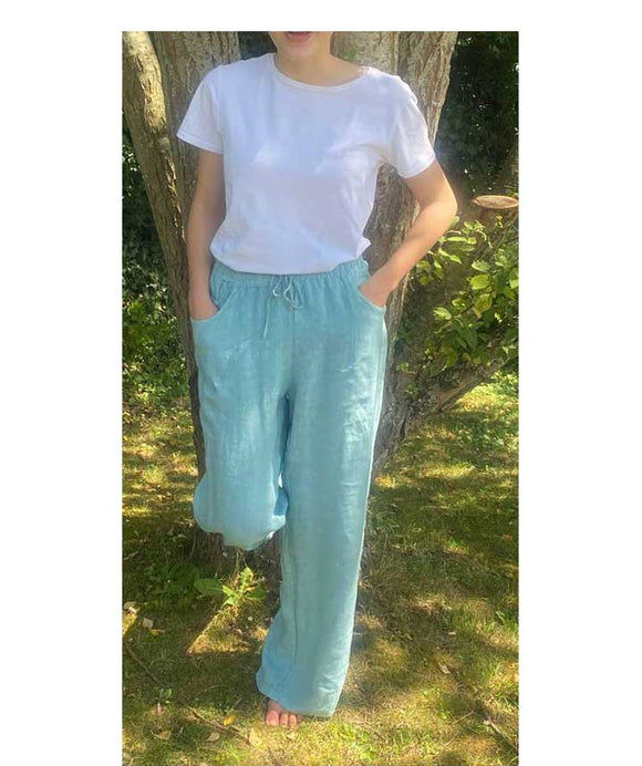 Linen Wide Leg Trousers Elasticated Waist, Light Blue