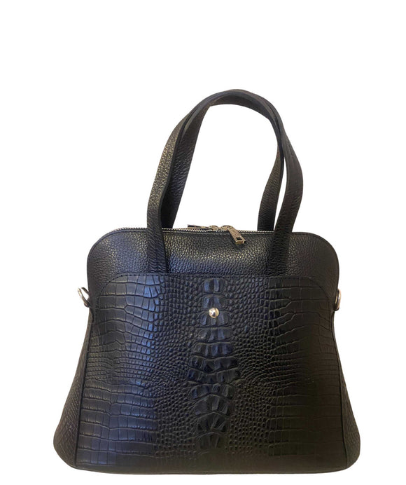 LUPO Structured Round Shape Grab Leather Bag Made in Italy, Black