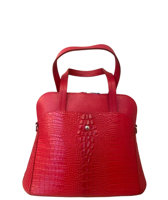 LUPO Structured Round Shape Grab Leather Bag Made in Italy, Red