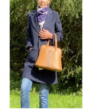 LUPO Structured Round Shape Grab Leather Bag Made in Italy, Tan