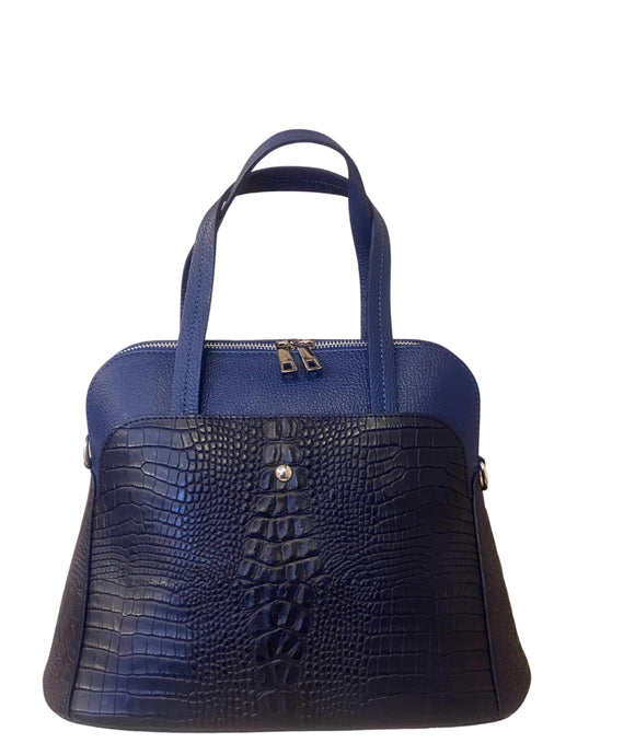 LUPO Structured Round Shape Grab Leather Bag Made in Italy, Dark Blue