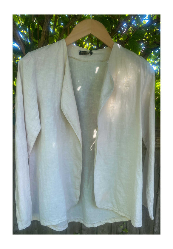 Collarless Mix Linen Cotton Jacket, Beige