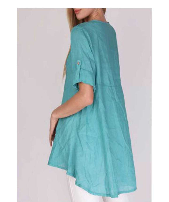 V-NECKLINE Floaty Linen Top/Tunic, Green