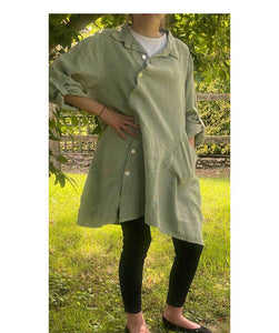 Linen Tunic Jacket Diagonal button , Light Khaki